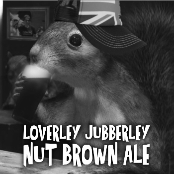 A Squirrel Drinking A Nut Brown Ale wearing an English cap